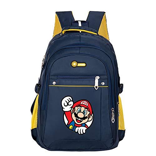 Super Mario Daypacks Simple Style British Style Kinder Schultasche Kindergartentasche Rucksack Tasche Vorschule Klasse Tasche (Color : Dark Blue14, Size : 30 X 19 X 45cm)