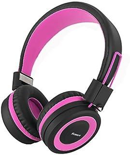 Kanen i50 Stereo Lightweight Foldable Headphones Adjustable Headband Headsets with Microphone 3.5mm for Cellphones Smartphones iPhone Laptop Computer Mp3/4 Earphones (Pink/Black)