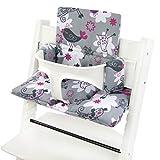 Bambiniwelt - Funda de repuesto para trona Stokke Tripp Trapp, reductor de asiento (diseño) XX (gris y rosa pájaros)