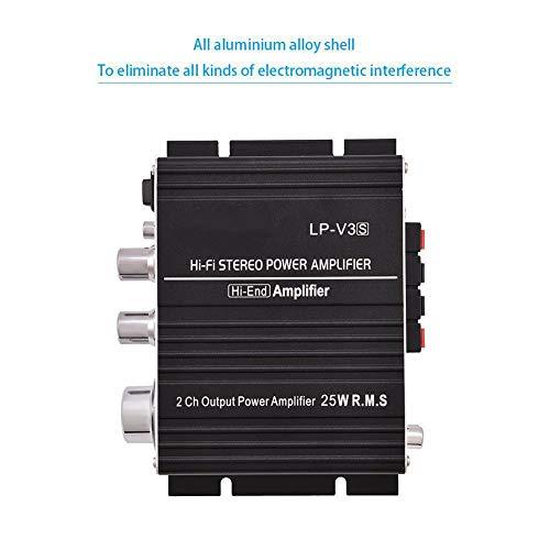 Qqmora Amplificador de Potencia Amplificador de Potencia estéreo de 2 Canales(Black)
