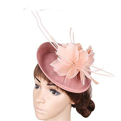 FHKGCD Racing Feather Sinamay Fascinator Hat Wedding Headwear Imitation Linen Church Cocktail Hat Derby Hair Accessories,Dark Peach,