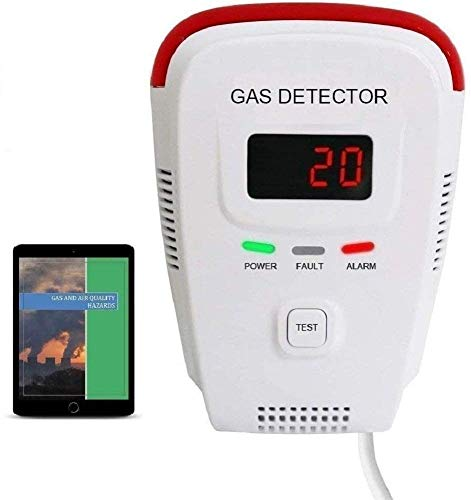Propane/Natural Gas Detector, Home Gas Leak Alarm, Tester, Sensor, Sniffer; Monitor Combustible Explosive Gas Level: Methane, Butane, LPG, LNG; Voice/Light Warning & LED Display; eBook
