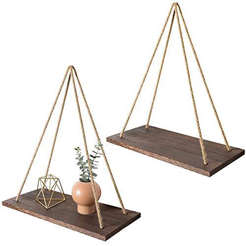 2 Stück Wandregal Hängeregal aus Holz mit schwimmenden Seilen, Aufbewahrungs- & Dekoration für Wohnzimmer, Schlafzimmer, Büro, Badezimmer & Küche.