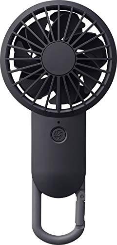 リズム時計工業(Rhythm) 携帯扇風機 黒 【改良】 USBファン 充電式 カラビナ 小型 強力 DCブラシレス 9ZF028RH02 17.7x8.5x3.5cm