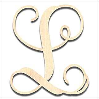 Back40Life - Precision Cut Vine Wood Monogram Letter - 13-inch Unfinished L