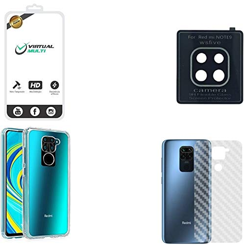 Kit Proteção Para Xiaomi Redmi Note 9 Película de Vidro 3D Capa Antishock Película Lente Câmera Película Traseira Fibra de Carbono