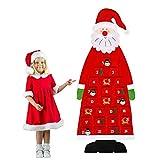 Wuudi Natale fai da te in feltro di Natale, Babbo Natale, decorazione da parete in feltro, calendario dell'Avvento con tasche, 24 giorni, per la decorazione della casa, 115 x 45 cm