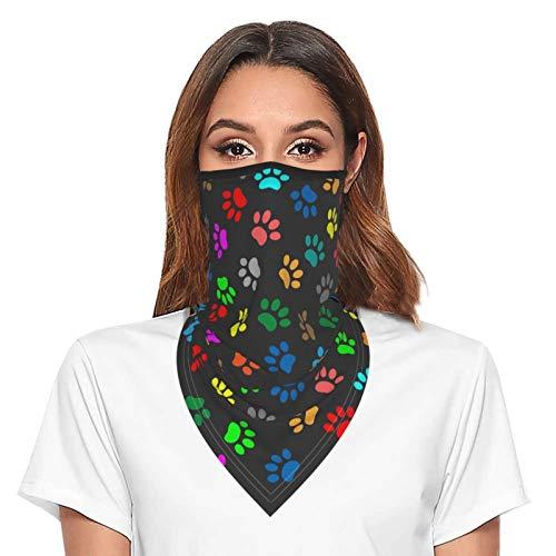 Colorful Paw Print Unisex Bandana Face Mask Ear Loops Balaclava Neck Gaiter Sun Scarf