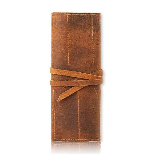 Prastara Genuine Leather Stationery Handmade Pencil Roll Case Art Uni College Supplies Roll Wrap Holder Vintage Unisex Brown Roll