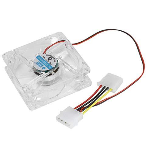 Ventilador de PC de la computadora 80Mm con Led 8025 Ventilador de enfriamiento silencioso 12V Led Luminous Chass Caja de la computadora Ventilador de enfriamiento Mod Fácil de Instalar - Luz Azul