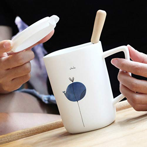 MSNLY Nordic Ceramic Mark Cup with lid Spoon Creative Animal Water Cup Milk Coffee Office Tea Cup Student Gift