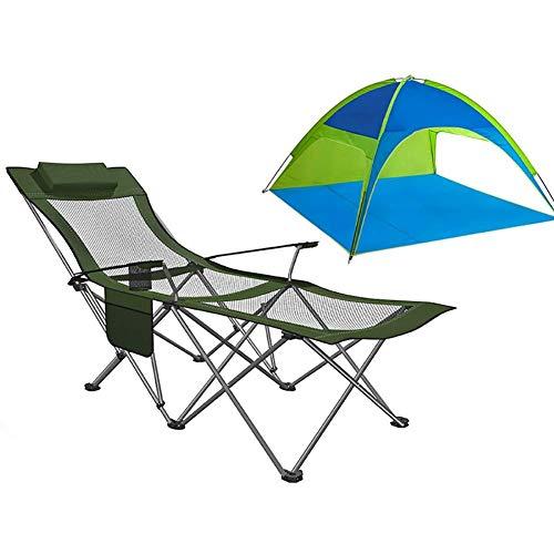 Caiyi Lounge Reclining Vouwkampstoel met voetensteun en tent - Kampeerstoel voor Outdoor Camping, Rv, BBQ - Ondersteunt 120 Kg