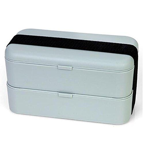 Meijunter Adultes Enfants Femmes Bento Boîte Conteneurs Double Empilable Boîte à Fruits Sushi Box Congélateur Lave-Vaisselle Four Micro Onde Sûr Boîte Repas Gris
