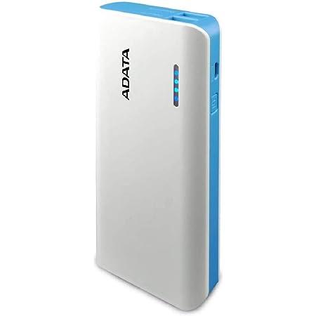 ADATA Powerbank Batería Portatil Color Blanco con Azul Celeste 10000 mAh (Modelo PT100)
