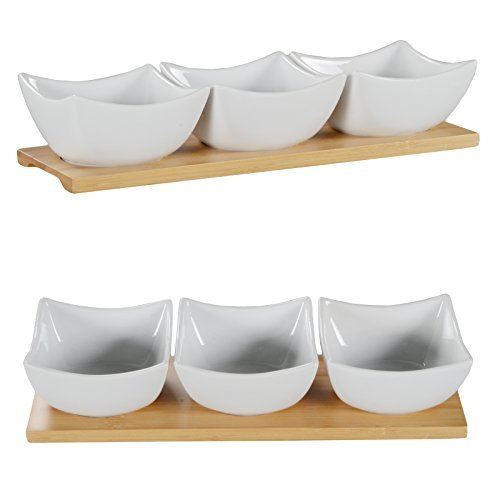 DRULINE Snackschalen auf Bambustablett Servierschalen Porzellanschalen Dippschalen