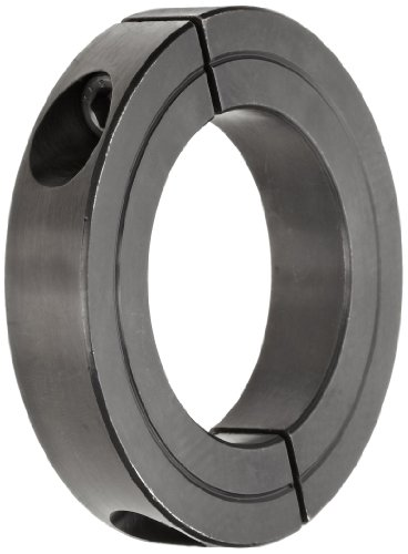 """Climax Metal H2C-162 Recessed Screw Clamping Collar, Two Piece, Black Oxide Plating, Steel, 1-5/8"""" Bore Size, 3"""" OD, With 5/16-24 x 1 Set Screw"""