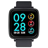 Bebinca 1.3Inch Blood Pressure Smart Watch Fitness Activity Tracker with Full Touch Screen Heart Rate&Sleep Monitor Calorie Counter DIY Main Interface Ultra-Long Battery Life(Black)