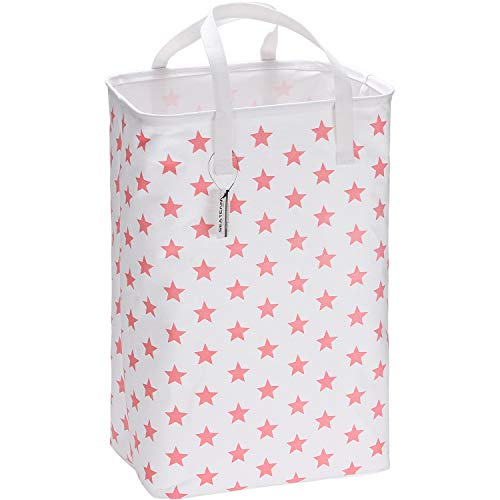 Sea Team 23.6' Large Size Canvas Fabric Laundry Hamper Collapsible Rectangular Storage Basket with Waterproof Coating Inner and Handles, Pink Star