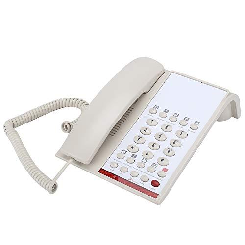 Dilwe Teléfono de Escritorio Residencial, 14 bits Memoria, 2 Tonos de Llamada Electrónico Teléfono Fijo Universal, Teléfono Fijo de Oficina Comercial con Volumen Ajustado(Blanco)