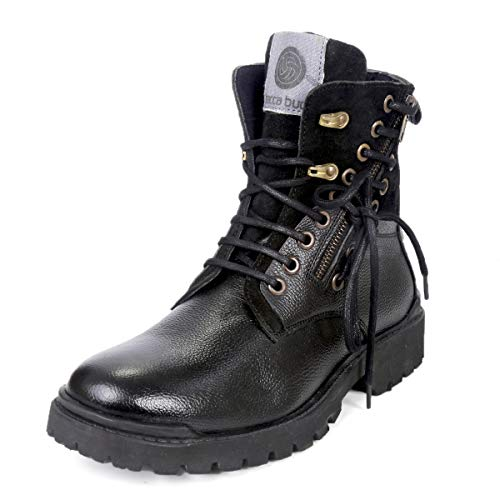 Bacca Bucci® Men's Earthkeepers Rugged/Light Weight/Bikers/Combat High top Genuine Leather Tuff Boots for Men-Black
