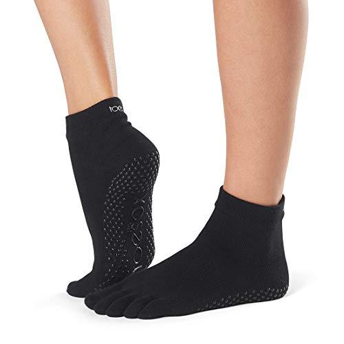 ToeSox Yoga-Pilates Toe Socks with Grips,Black,Large