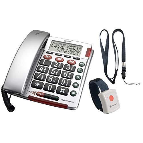 Amplicomms BigTel 50 Plus - Telefono a bottone grande per anziani con display chiamante, per telefoni forti per udito