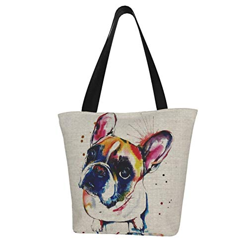 antcreptson French Bulldog Extra Large Canvas Beach Travel Reusable Grocery Shopping Tote Bag Market Portable Storage Handbags