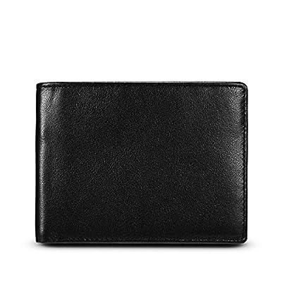 WALINC Men's RFID Blocking Bifold Leather Pocket Wallet with ID Window in Gift Box, Black