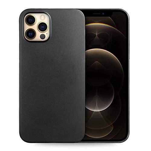 doupi UltraSlim Custodia per iPhone 12 PRO/iPhone 12 (6,1 Pollici), Satinato fine Piuma Facile Mat Semi Trasparente Cover, Nero
