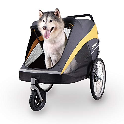 Ibiyaya large pet stroller for 1 large or multiple medium dogs with air filled tire suspension and aluminum frames, rain cover included