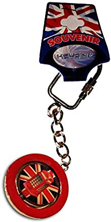 Union Jack Telephone Box Keychain - Spinning Metal Red Keyring/Key Chain Ring England UK British Souvenir