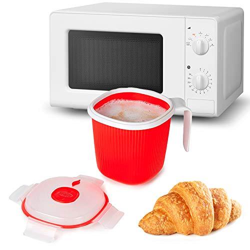 MovilCom - Jarra plástico con Tapa para microondas | microondas Vapor 0,7L con válvula Color Rojo
