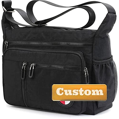 Bolsos de Nombre Personalizados para Hombres Messenger Bag Crossbody Grande sobre los Bolsos de Nylon del Viaje del Hombro (Color : Black, Size : One Size)