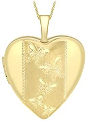Carissima Gold Women's 9 ct Yellow Gold Etched Butterfly Detail Heart Locket on Curb Chain of Length 46 cm
