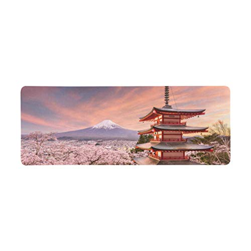 InterestPrint Soft Extra Extended Large Gaming Mouse Pad with Stitched Edges, Desk Pad Keyboard Mat, 31.5 x 12In - Fujiyoshida Japan and Mt. Fuji in Spring with Cherry Blossoms