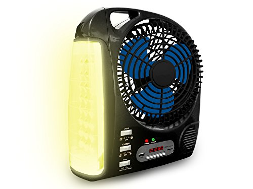 Technical Pro FS2BT Rechargeable Camping Fan with AM FM Radio Speaker and LED Work Lamp