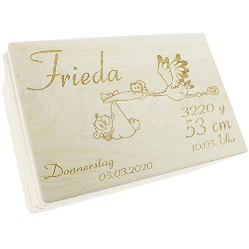 Holzkiste mit Deckel zur Geburt - Holzbox Taufe - Individuell graviert mit Namen - Geburtsdatum - Gewicht - Geschenk zur Geburt personalisiert - Erinnerungsbox Baby - Memory Box (Modell 2, Storch)