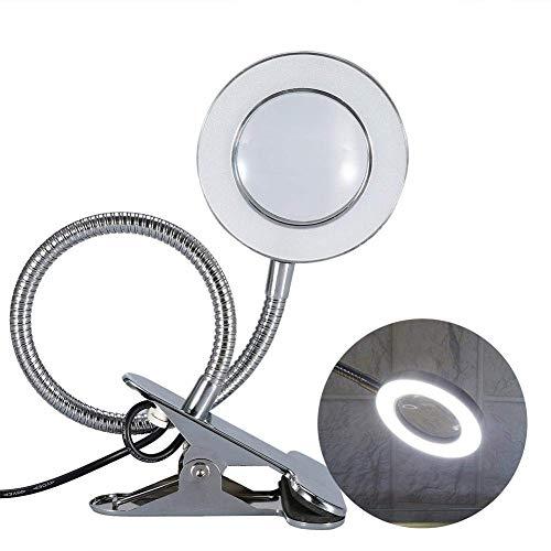 Lupa con LED Luz escritorio Maquillaje Tatuaje Profesional 2.5X veces agrandar Luminosidad Ajustable Giratoria Portátil lampara con USB