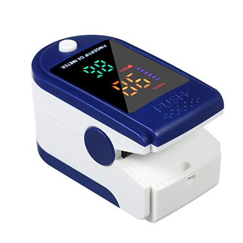 Carevas Punta del Dedo Digital Oxímetro de Pulso Sensor de oxígeno en la Sangre Saturación SpO2 Monitor Medidor para Viajes Deportivos en casa