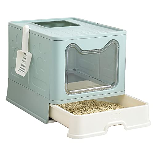 Large Cat Litter Box, Foldable,Top and Front Door for Entry and Exit Enclosed Kitten Pan with Litter Scoop and High Side, Pull Out Tray/Drawer for Quick and Easy Cleaning No Smell Cat Toilet(Blue)