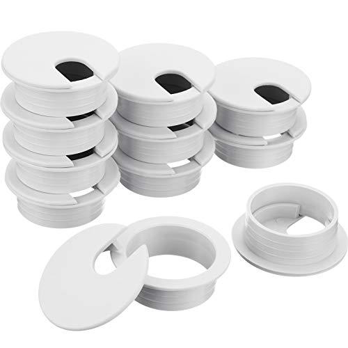 Pasacables Tapa de Ojales de Escritorio de Plástico para Mesa de Ordenador Organizador de Alambre para Hogar y Oficina, 35 mm/ 1,38 Pulgadas Diámetro de Agujero de Montaje(Blanco, 16 Piezas)