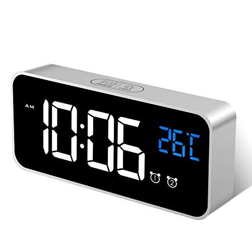 MOSUO Sveglia Digitale, Sveglia da Comodino Orologio con Temperatura e LED Grande Schermo, 2 Allarme, Snooze, Suoni e Luminosità Regolabile, Controllo Vocale, USB Ricaricare, Argento