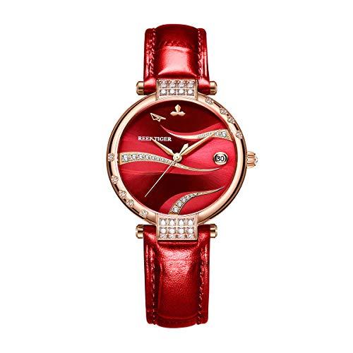 Reef Tiger Damenmode Automatik Diamanten Roségold Gehäuse Uhrentag Rotes Zifferblatt mit Leder RGA1589 (RGA1589-PRRC)