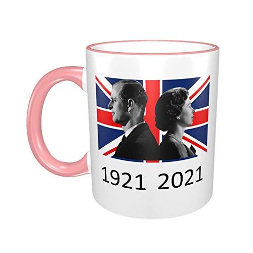 Queen Elizabeth II & Prinz Philip auf der britischen Flagge, UK Britain Monarch Tasse, 1921–2021, Pink