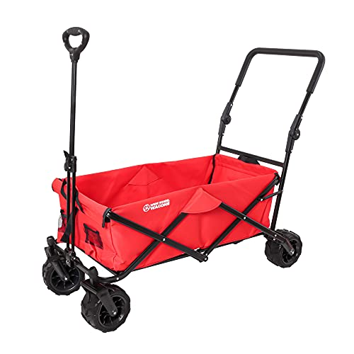 Red Wide Wheel Wagon All-Terrain Folding Collapsible Utility Wagon with Push Bar - Portable Rolling...