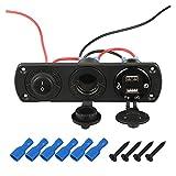Jula 車のタバコの軽量のデジタル電圧計の二重QC3.0 USBの電源充電器250W 12Vソケットの防水防水ロッカースイッチ Color Name  Black