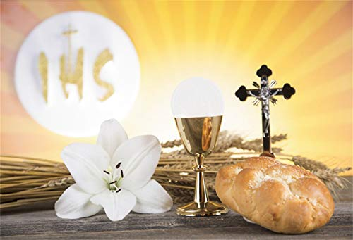 Leowefowa Holy Communion Backdrop 5x3ft Crucifix Lily Chalice Bread Flowers Wheat Holy Light Vinyl Photography Background Communion Party Baby Baptism Banner Eucharist Wallpaper