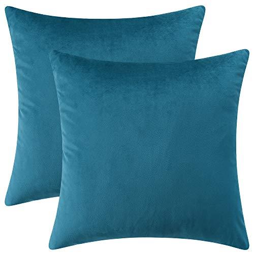 Rythome - Juego de 2 fundas de almohada de terciopelo, fundas de cojín decorativas sólidas para sofá y cama, 45,7 x 45,7 cm, color azul pavo real
