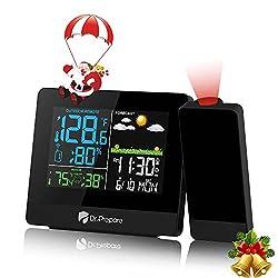 powerful DR.PREPARE Projection alarm clock, digital clock with indoor / outdoor area Ceiling projector …