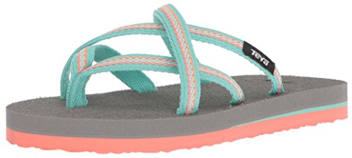 Teva Girls' K Olowahu Flip-Flop, Lindi sea Glass/Coral, 3 M US Little Kid